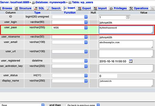 تغییر رمز عبور کاربر در پایگاه داده وردپرس