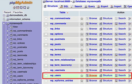 انتخاب جدول کاربران در وردپرس برروی localhost