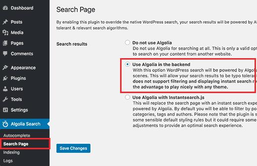 صفحه جستجو در پلاگین Algolia