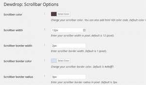 تنطیمات پلاگین Dewdrop Custom Scrollbar در وردپرس