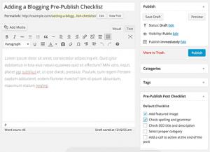 تنظیمات پلاگین pre-publish post checklist در وردپرس