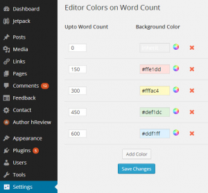 افزونه Editor Color on Word Count