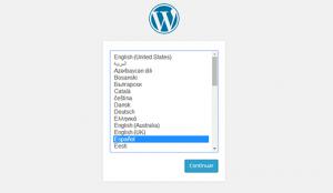 انتخاب یک زبان در زمان نصب وردپرس