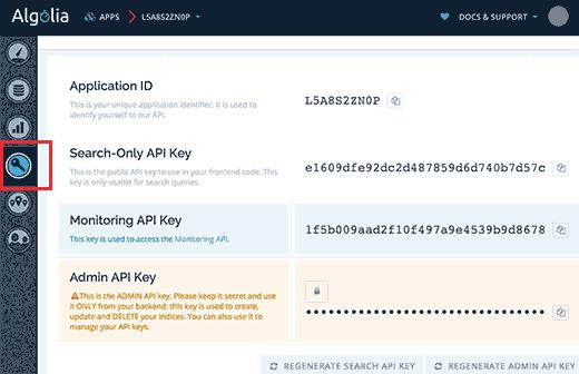 کلید API در Algolia