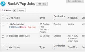 ایجاد چند پشتیبان با استفاده BackWPup در وردپرس
